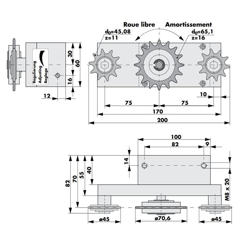 amortisseur radial RD 240 pour amortissement continu avec 3 pignons dimensions